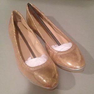 Loeffler Randall ballet flats gold silver 6 B